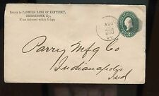 US small town advertising cover (Farmers Bank of Ky) 1893 Georgetown, Ky