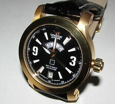 VOSTOK EUROPE AN-225 MRIYA RUSSIAN GOLD TONE STEEL AUTO DAY NIGHT BLACK WATCH