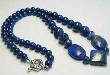 Real Natural Dark Blue Egyptian Lapis Lazuli Beads Necklace 18""