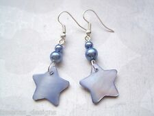 *PALE SKY BLUE SHELL STAR PEARL BEAD* Silver Plated Drop Earrings MOP Gift Bag