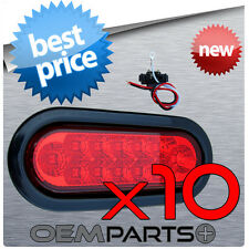 """10X NEW 6"""" LED RED OVAL SEALED TURN SIGNAL STOP TAIL LIGHT TRUCK TRAILER RV KIT"""