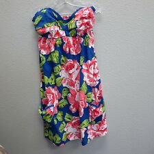 ABERCROMBIE FITCH NEW YORK Womens Blue Floral Spring Ruched Strapless Dress XS