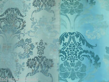 Designers Guild Curtain Fabric KASHGAR 2.5m Zinc - 100% Cotton Damask 250cm