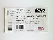 DARTS MEMORABILIA - Betway Premier League Ticket Stub 13/04/17 Liverpool Arena