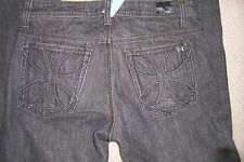 MENS SIZE 34 X 30 - HABITUAL - BLACK DENIM JEANS - BOOTCUT -BUTTON FLY  - USED
