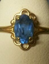 London Blue Topaz Ring - 10 kt Yellow Gold - Size 4