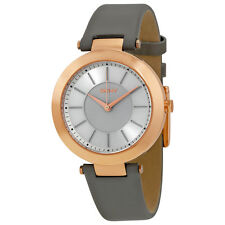 DKNY Stanhope Silver Dial Gray Leather Watch NY2296