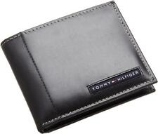 NEW TOMMY HILFIGER MEN'S LEATHER CREDIT CARD WALLET BILLFOLD BLACK 5675-01