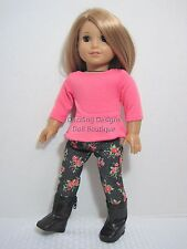 """Floral Pants & Top & Black Boots Doll Clothes Fits 18"""" American Girl"""