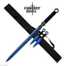 Blue Ninja Sword With Set Of 2 Kunai Throwing Knives Combo Set With Belt Sheath