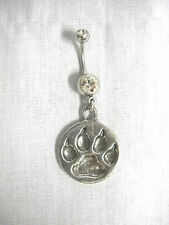 NEW PEWTER TOTEM WOLF PAW PRINT DANGLING PENDANT CLEAR CZ BELLY BAR NAVEL RING