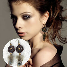 Women Fashion Stylish Wood Circle Dream catcher Earrings Rhinestone Jewelry Hot