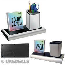 Office Gift Digital LCD LED Desk Alarm Clock & Mesh Pen Pencil Ruler Holder Tidy