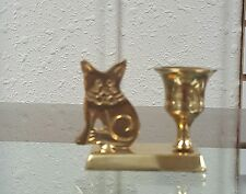 Brass Cat Candle Holder/Animal