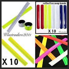 10 REFLECTIVE ARM BANDS SLAP WRAP SNAP ON BAND HI-VIZ BICYCLE BIKE RUNNING NEW