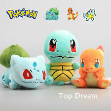 "3X Bulbasaur Charmander Squirtle Plush Pokemon Soft Toy Stuffed Doll 6"" HQ Gift"