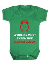 "Baby Bodysuit Funny ""World's most expensive alarm clock "" Baby Grow Fun - BNWT"