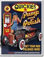 Quickies Gas Pump & Polish PinUp TIN SIGN metal vintage hotrod garage decor 1746
