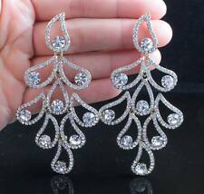 FANCY CLEAR AUSTRIAN RHINESTONE DANGLE EARRINGS STUD BRIDAL PROM E11967G GOLD