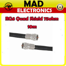 10m High Quality RG6 Quad Shield Lead with Crimped Connectors