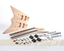 Solid Body DIY Double Neck Electric Guitar Kit Project Mahogany New