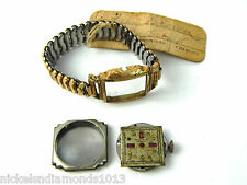 Vintage Women's Gold Filled Gem? Face Watch & Band w/ Pawn Tag