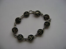 Black Enamel Inlay Peace Sign Design Nickel Silver Bracelet New