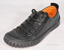 Petasil Boys Black Leather Shoes Zip Fasten Guy 2 UK 2 EU 34 US 2.5 RRP £48-£52
