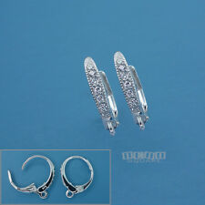 2PC (1 Pair) Sterling Silver CZ Crystal Lever Back Ear Wire Earring w/Loop 33538