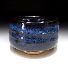 SF9 Japanese Tea Bowl, Seto Ware, Famous potter, Eichi Kato, Blue & black glazes