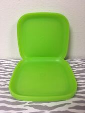 "Tupperware Luncheon Plates 8"" Square Edged Lime Green Set of 4 New"