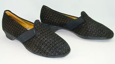 Vtg Wellco Black Gold Slippers Swell Modified Wedge Lucy VLV PUG 7 W Fit 8 8.5