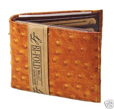 Mens Bifold Genuine Leather Wallet Ostrich Print Tan Zipper Cards ID Light Brown