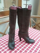Jane Shilton Dark Brown Knee High Leather / Suede  Boots Size 37 /4  Slim fit!