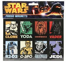 RETRO STAR WARS FRIDGE MAGNETS X 8 BRAND NEW GREAT GIFT YODA, VADER, R2-D2