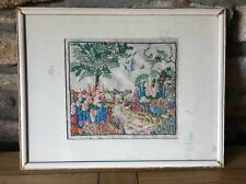 Vintage Hand Worked Embroidery Picture Cottage Garden Original Frame