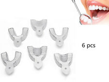 6Pcs Dental Autoclavable Metal Impression Trays Stainless Steel Upper&Lower SS