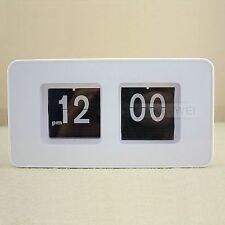Retro Auto Flip Clock Table Desk Wall Kitchen White New