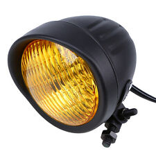 BLACK RETRO AMBER LIGHT 10MM H/L HEADLIGHT FOR HARLEY CHOPPER BOBBER SPRINGER