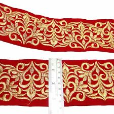 Velvet Red Fabric Ribbon Decorative Craft Supply 7.6 Cm Wide Border By The Yard