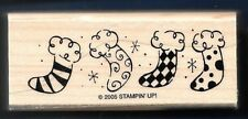STOCKINGS BORDER Fireplace Decor Snow Winter NEW Stampin' Up! 2005 Rubber Stamp