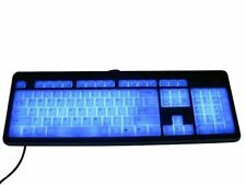 NEW SLIM ACRYLIC ILLUMINATED BACKLIT USB COMPUTER KEYBOARD BLUE BY MODTEK