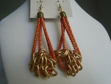 Earring Burnt Orange and Gold Rope Design Hook Pierced Dangle