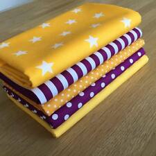YELLOW & PLUM Purple Fat Quarter Bundle 100% cotton STRIPES SPOTS STARS FABRICS