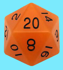 MDG 35MM MEGA ACRYLIC GLOW in DARK - ORANGE w/ BLACK DIE D20 Countdown Dice RPG