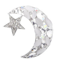Nobel Silver Plated Moon & Star Resin Crystal Rhinestone Nice Brooch Pin
