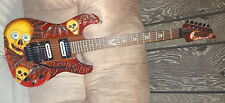 Hand Carved SPIRIT GUIDE SKULLS with WINGS Electric Guitar w/Floyd Rose