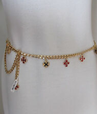NEW ST JOHN KNIT WOMENS M/L GOLD CHAIN CHARM BELT OR NECKLACE RED BLACK CROSS