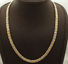 "18"" 6mm Wide Reversible Byzantine Chain Necklace Real 14K Yellow White Gold QVC"