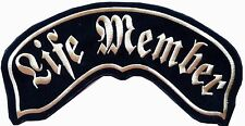 LARGE ROCKER  PATCH HD - LIFE MEMBER– GOTHIC LETTERS, GOLD COLOUR, CHENILLE